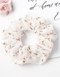 Fashion Off-white Small Floral Fabric Chiffon Bowel Hair Rope