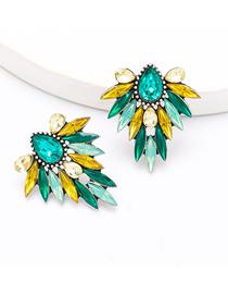 Fashion Green Yellow Alloy Diamond Floral Geometric Earrings
