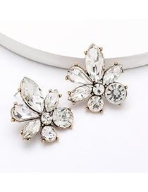 Fashion White Alloy Diamond Floral Geometric Earrings