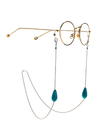 Fashion Golden Natural Water Drop Turquoise Beads Handmade Glasses Chain