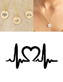 Fashion Golden Stainless Steel Single Hole Engraved Ecg Adjustable Necklace 13mm