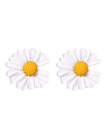 Fashion White Small Daisy Contrast Alloy Earrings