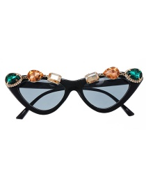 Fashion Black Diamond Diamond Cat Eye Sunglasses