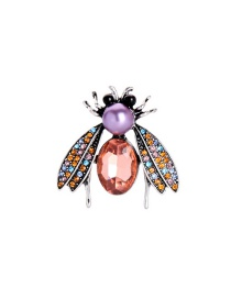 Fashion Peach Color Jewel Anti-glare Pearl Insect Brooch
