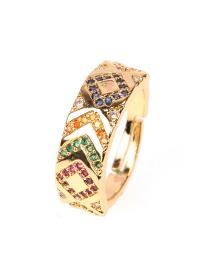 Fashion Golden Copper-set Zircon Diamond Pattern Wide Ring