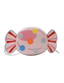 Fashion Pink Candy Print Woven Rope Childrens Shoulder Messenger Bag