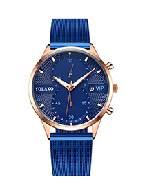 Fashion Blue Ribbon Rose Gold Shell Blue Surface Calendar Ultra-thin Mesh Band Quartz Mens Watch