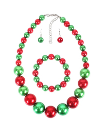 Fashion Color Christmas Pearl Necklace Earrings And Bracelet Three-piece Set