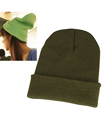 Stationery Dark Green Simple Knitting Wool Fashion Hats