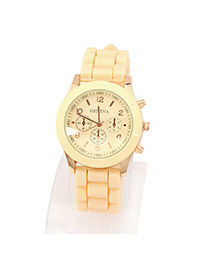 Collapsibl Beige Elly Fluorescence Color Alloy Fashion Watches