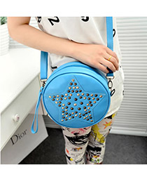 Famale Blue Pentagram Shape Rivet PU Handbags
