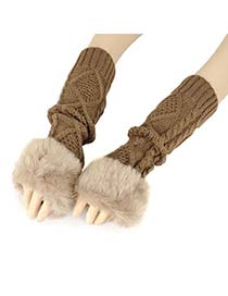 Colorful Khaki Fur Long Style Knit Fingerless Knitting Wool Fashion Gloves
