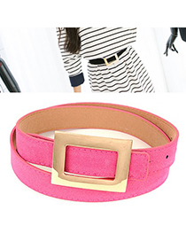 Expression Plum Red Wide Square Buckle Design Pu Thin belts