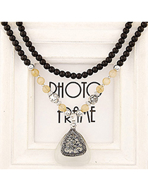 Victorian Silver Color Diamond Decorated Triangle Pendant Design Alloy Beaded Necklaces