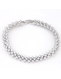 Vellum White Diamond Decorated Square Shape Design Zircon Crystal Bracelets