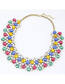 Seamless Multicolor Diamond Decorated Waterdrop Shape Design