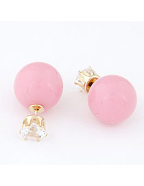 Sheer Pink Diamond Decorated Round Shape Design
