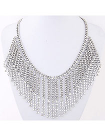 Bendable Silver Color Chain Decorated Tassel Design Alloy Bib Necklaces