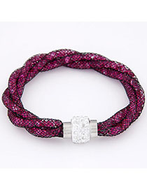 Handcrafte Plum Red Diamond Decorated Weave Design Alloy Korean Fashion Bracelet