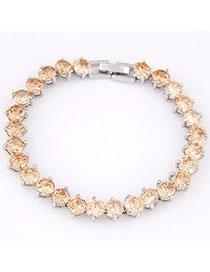 Electronic Champagne Diamond Decorated Simple Design Cuprum Fashion Bracelets