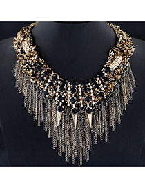 Rave Black Gemstone Decorated Rivet Tassel Design Alloy Bib Necklaces