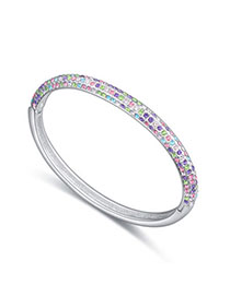 Childrens Multicolor Diamond Decorated Simple Design Alloy Crystal Bracelets