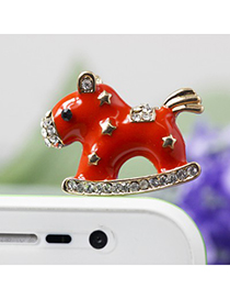Plain red horse design star decorated