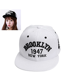 High-quality White Letter 1947 Pattern Simple Design Canvas Baseball Caps