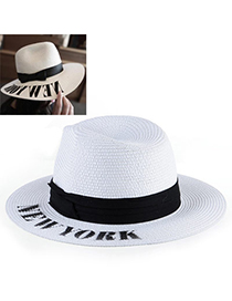 Unique White Letter New York Simple Design Paper String Sun Hats