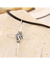 Classic Silver Color Cross Shape Pendant Decorated Simple Design