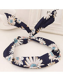 Sweet Navy Blue Flower Pattern Simple Design