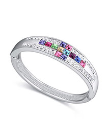 Luxurious Multicolor Cross Shape Decorated Simple Design Crystal+alloy Crystal Bracelets