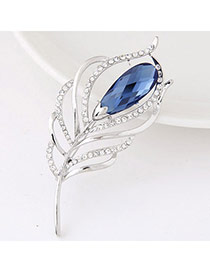 Sweet Blue Gemstone Decorated Feather Shape Design