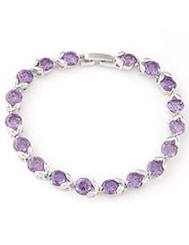 Fashion Purple Diamond Decorated Simple Design  Cuprum Fashion Bracelets
