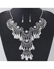 Retro Antique Silver Water Drop Shape Decorated Tassel Design  Alloy Jewelry Sets