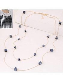 Fashion Navy Blue Square Diamond Decorated Double Layer Design
