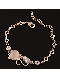 Sweet Gold Color Cat Shape Decorated Simple Design  Alloy Korean Fashion Bracelet