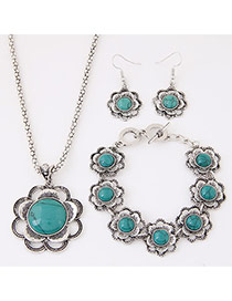 Fashion Blue Flower Decorated Simple Design