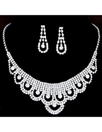 Fashion White Diamond Decorated Waterdrop Shape Hollow Out Design