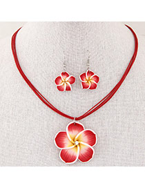 Sweet Red Flower Pendant Decorated Multilayer Short Design  Alloy Jewelry Sets