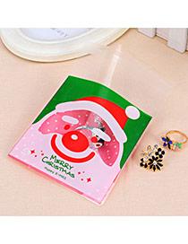 Sweet Red&green Smiling Face Santa Clau Pattern Simple Design (100pcs)