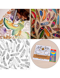 Personality Multicolor Decompression Enchanted Forest Hand Tintage Book Paper+crayon Other Creative Stationery