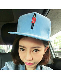 Fashion Blue Soldier Embroideried Decorated Simple Design  Canvas Baseball Caps