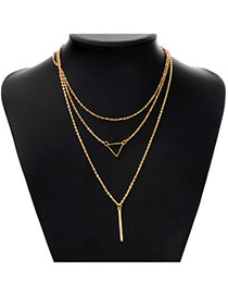 Fashion Gold Color Triangle Shape Decorated Multilayer Design