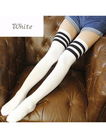 Classic White+black Stripe Pattern Decorated Knee-high Design