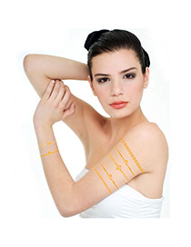 Personality Gold Color Geometric Shape Pattern Flash Sheet Temporary Design Paper Tattoos body Art