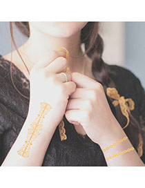 Personality Gold Color Chains Pattern Flash Sheet Temporary Design Paper Tattoos body Art