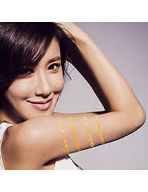 Personality Gold+silver Color Geometric Shape Pattern Flash Sheet Temporary Design Paper Tattoos body Art