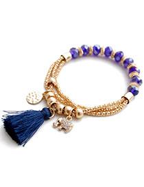 Fashion Blue Elephant Pendant Decorated Tassel Design Alloy Fashion Bracelets