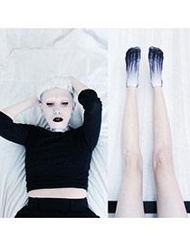 Retro Dark Blue Skeleton Feet Pattern Decorated 3d Effect Design  Spandex Fashion Socks